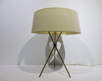 Mid-Century Modern Robsjohn-Gibbings Brass Tripod Lamp, Signed Hansen Of New York.