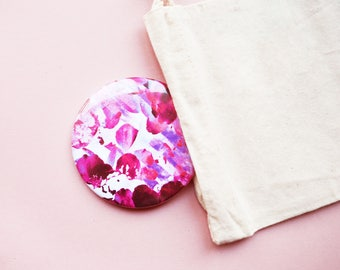Sunset Pocket Mirror, Pretty Compact Mirror, Cute Make up Bag or Gift Bag Filler, Floral Mirror