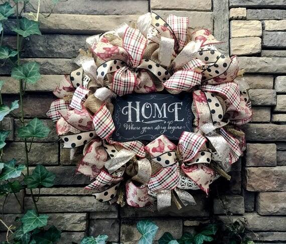 Farmhouse Wreath, French Country Wreath, Burlap Wreath, Primitive Wreath, Farmhouse Decor, French Country Decor, Farmhouse Style, Fall Decor