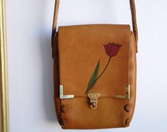 Leather purse, handmade tooled leather purse