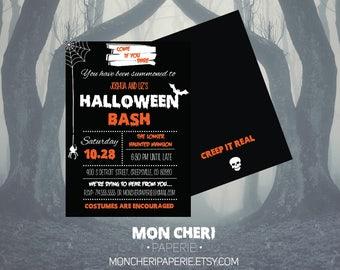 Halloween Bash Invitation / Halloween Party Invitations / Come If You Dare Halloween Party Invitation Printable