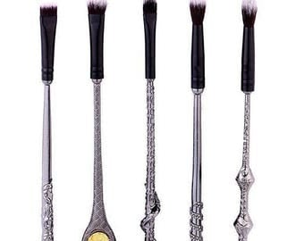 Harry Potter inspired wizard wand make up brush set fast postage