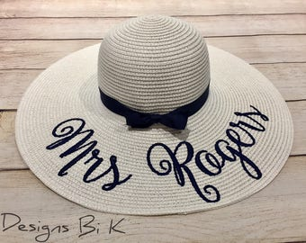 Something blue and new, bachelorette gift, bridesmaids gift, custom wedding gift,  gifts for her, floppy beach hat, bride gift, honeymoon
