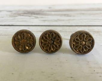 Set of 3 Floral Dark Gold Vintage Round Furniture Knobs
