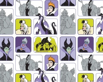 Disney Villains Wicked Women White Camelot Premium 100% cotton fabric  (CA221)