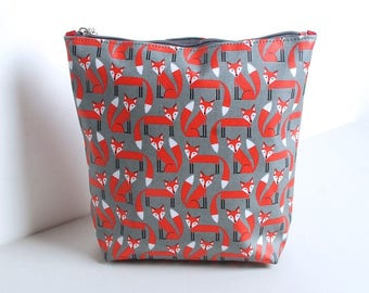 Personalised Fox Print Wash Bag, Fox Wash Bag, Fox Toiletry Bag, Wash Bag, Personalised Wash Bag, Toiletry Bag, Engraved disc,Christmas Gift