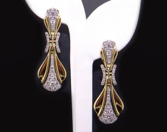 Breathtaking 18k Yellow White Gold 3.17ct Round Cut Diamond Dangle Drop Cluster Earrings