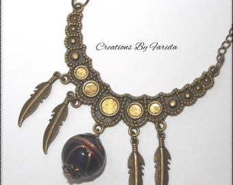 Charms and bronze moon shaped necklace half long with connector