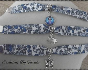 Blue floral liberty bracelet and silver charm