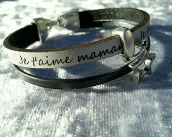 "Leather Bracelet black and grey ""I love you MOM"""