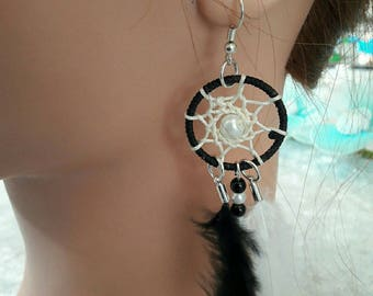 Dream catcher earrings with black and grey feathers