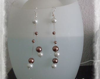 White and chocolate Pearl Earrings