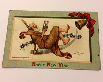 Brundage Art New Year Postcard Father Time with a Scythe & Hourglass