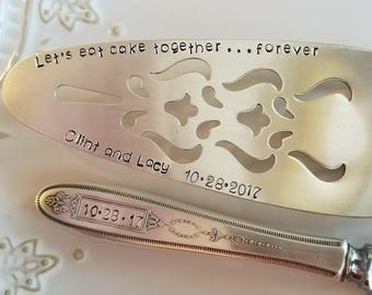 Grosvenor, Wedding Cake Forks, Server, Gift for Bride, Custom Stamped Fork, Bride and Groom Gift,Wedding Accessories,Personalized, Knife