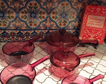 Cranberry Visions Corning Ware Pot and Pan Set 5 piece with Lids 80's