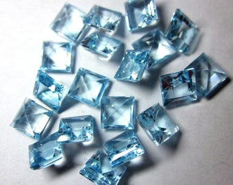 Lot Of 10 Piece natural Sky Blue Topaz square cut faceted loose gemstone for jewelry