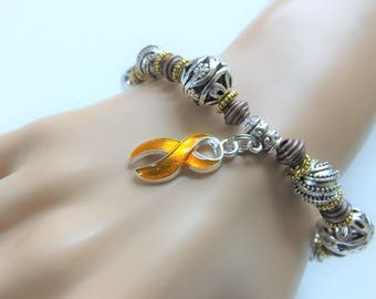 Gold Ribbon Awareness Bracelet Stretch Cord Bracelet Childhood Cancer Awareness Pediatric Cancer COPD Embryonal Rhabdomysarcoma Awareness