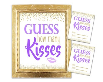 Bridal Shower How Many Kisses Game - Purple / Gold - Instant Printable Digital Download -diy Bridal Shower Printables Gold Glitter Confetti