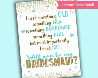 Will you be my BRIDESMAID Card - Bridesmaid Proposal - Teal Blue Printable PDF, Instant Download Wedding Maid of Honor Ask Pop the Question