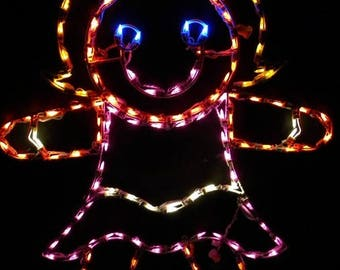 Merry Christmas Gingerbread Girl Wireframe Outdoor Holiday Yard Decoration Commercial Quality