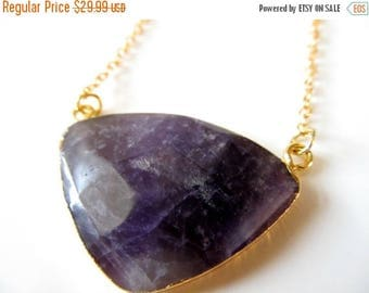 SALE Amethyst Necklace - Unique Long Gold Plated Chain Purple Crystal Necklace - Faceted Gem - Gift for Women - Boho Crystal Jewelry - Gemst