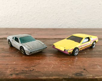 Lot of 2 Hot Wheels / 1977 Gray Racebait 308 and 1979 Yellow and Purple Hot Wheels Cars / Comes With Both Cars!!!