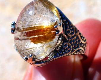 Golden Rutilated Quartz  & 925 Sterling Silver Ring size 8.25 by Silver Trend