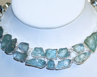 Amazing All Natural Rough Aquamarine  Set in 925 Solid Sterling Silver