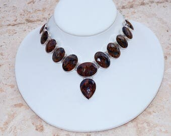 Amazing All Natural faceted Russian Pietersite  Set in 925 Solid Sterling Silver Necklace