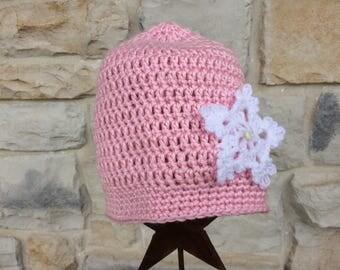 Little Girls' Pink Crochet Slouch Beanie with Snowflake, Toddler Girl Crochet Winter Hat