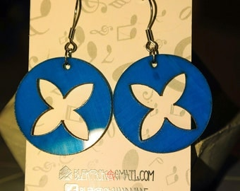 Blue circle dangle vinyl record earrings,earrings for woman,flower,upcycled earrings minimalist earrings sustainable fashion edgy jewelry
