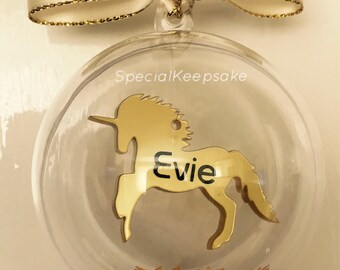 Personalised Gold Floating Unicorn Christmas Bauble Unique Gift Magical  Festive Tree Decoration Ornament Love Unicorns Gift For Her