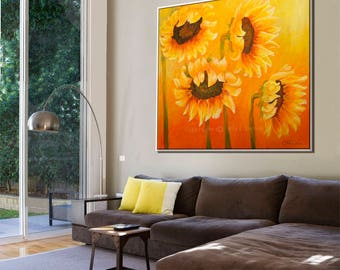 Wall Art Oil Painting, Paintings on Canvas, Canvas Art, Sunflower Painting, Extra Large Wall Art Painting, Large Painting, Contemporary Art
