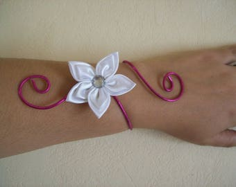 Bridal bracelet wedding party holiday aluminum wire Fuchsia bridesmaid white ceremony satin flower