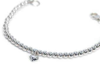 Sterling Silver Ball Bracelet | Silver Heart Bracelet | Bridesmaid Gift | Sterling Silver Bracelet | 925 Silver | Silver Bead Bracelet