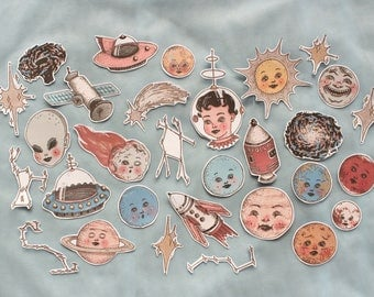 outer space sticker set ~ 30 pack