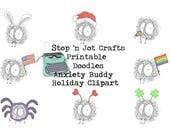 Anxiety Buddy Holiday Clip Art Bundle