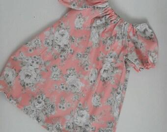 Girls dress, pink flower floral dress summer dress, newborn dress, toddler peasant dress, girls floral dress, baby dress