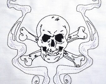 Skull and cross bones 5x7 machine embroidery design