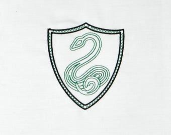 Slytherin crest minimalist no banner machine embroidery design 4x4