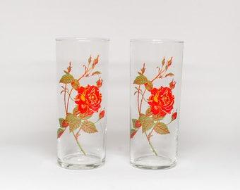 Pair of Rose Retro Glasses - Drinking Glasses