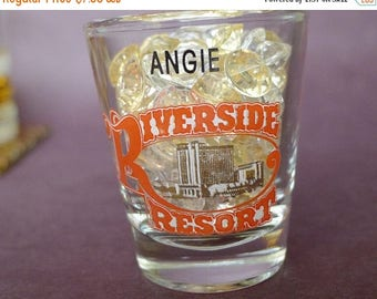 50 OFF SALE Laughlin Nevada Shot Glass, Vintage Riverside Resort ANGIE personalized Shot Glass, Hotel Shot Glass, Vintage Jigger Bar Measure