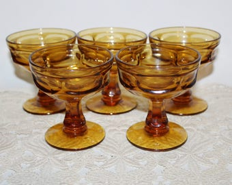 Set of 5 Vintage Clear Amber Glass Ice Cream Goblets or Cups for Dessert, Sherbet, Thumb Print Pattern