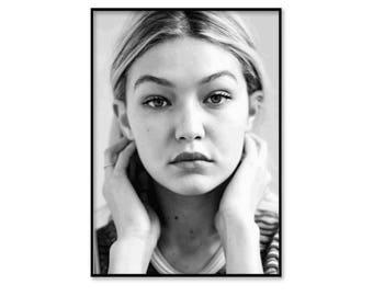 Gigi Hadid poster, Gigi Hadid framed print, framed wall art, fashion wall art, fashion print, black and white photography, free shipping UK