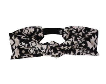 Headband Lyana - Cotton Jacquard fabric Headband, Boho Headband, Parisian Style Headband, Modern Retro Headband, HandMade in Paris Headband