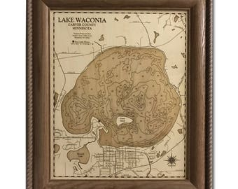 Lake Waconia Michigan Dimensional Wood Carved Depth Contour Map - Customize With Your Home Information