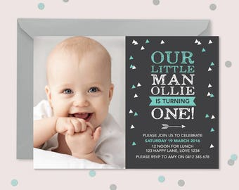Tribal geometric 1st birthday invitation boys // I customise for you to print // chalkboard teal and white arrow and triangle design