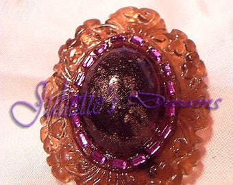 """Brooch """"Goldy Purple"""". Purple and gold"""