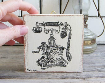 Antique Style Print, Vintage Wall Sign, Miniature Painting, Bohemian Art, Antique Telephone Print, Wood Signs, Bedroom Decor, Gift Under 15