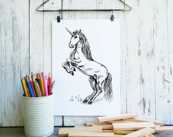 Unicorn clip art, Fantasy art, Nursery art, Unicorn printable, Coloring pages, Fairy tale art, Digital print, Gift for kids